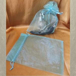 Pochette cadeaux,  sac en organza 22 x 16,5 cm bleu ciel grande contenance  - 1