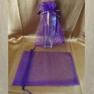 Pochette cadeaux,  sac en organza 22 x 16,5 cm violet parme grande contenance  - 1