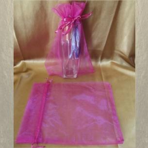 Pochette cadeaux,  sac en organza 22 x 16,5 cm rose fushia grande contenance  - 1