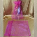 Pochette cadeaux,  sac en organza 22 x 16,5 cm rose fushia grande contenance