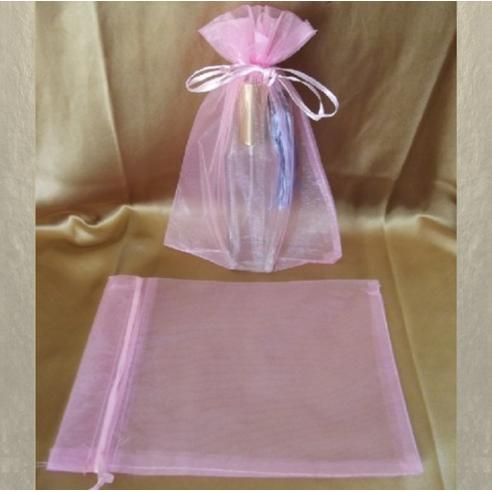 Pochette cadeaux,  sac en organza 22 x 16,5 cm rose tendre grande contenance  - 1
