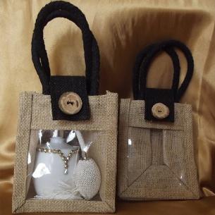 Sacs cadeaux toile de jute avec anses, noir et fenêtre PVC / sac / pochon  - 1