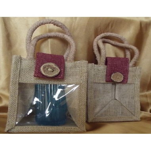 Pochette cadeaux toile de jute rabat bordeaux avec anses et fenêtre PVC/ sac / pochon  - 1