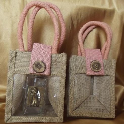 Pochette cadeaux toile de jute avec anses roses et fenêtre PVC/ sac / pochon  - 1