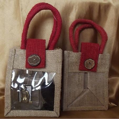 Pochette cadeaux toile de jute avec anses et rabat rouge bordeaux et fenêtre PVC/ sac / pochon