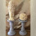 Chandelier, bougeoir en bois patiné gris taupe artisanal bougie pilier, bougie sculpture, bougie décorative