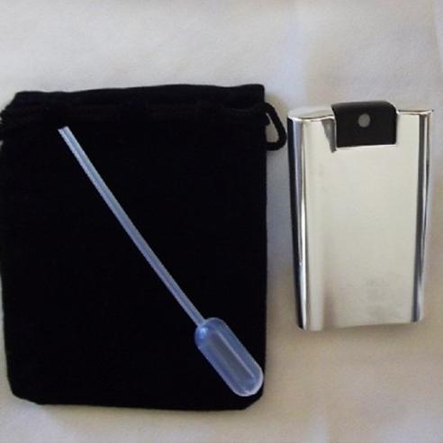 Vaporisateur de parfum carré finition plaqué argent vide et rechargeable Plaqué argent - Au pays des senteurs