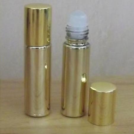 Roll-on en verre vide et rechargeable recouvert effet miroir couleur or