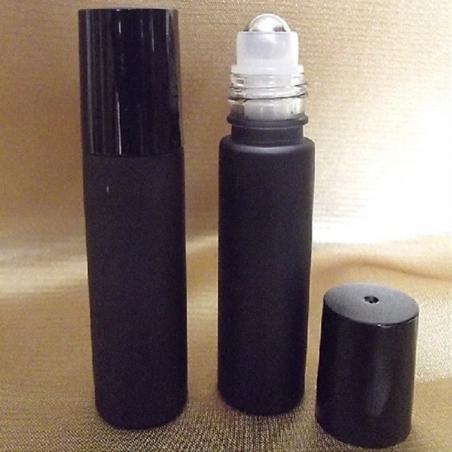 Roll on de parfum verre noir givré avec bille en métal 10 ml