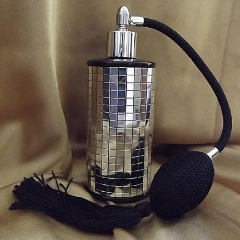 Vaporisateur de parfum poire en verre noir miroir mosaïque couleur argent 100 ml vide et rechargeable  - 1