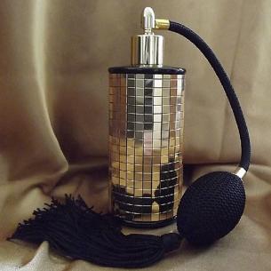 Vaporisateur de parfum poire en verre noir miroir mosaïque couleur or 100 ml vide et rechargeable Vaporisateurs de parfum - A...