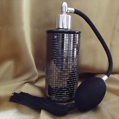 Vaporisateur de parfum poire en verre noir miroir mosaïque couleur hématite 100 ml vide et rechargeable Poire rétro longue - ...