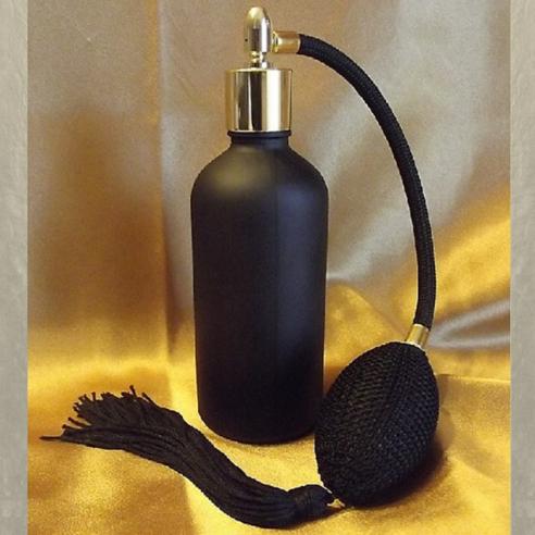 Vaporisateur de parfum poire rétro noire verre noir givré cylindrique vide et rechargeable 100 ml Vaporisateurs de parfum - A...