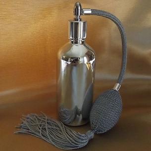 Vaporisateur de parfum poire grise vide et rechargeable verre effet miroir argent 100 ml Poire rétro longue - Au pays des sen...