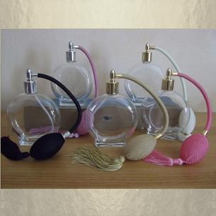 Vaporisateur de parfum poire rond plat 120 ml vide et rechargeable Poire rétro longue - Au pays des senteurs