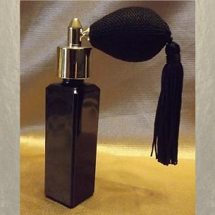 Vaporisateur de parfum poire courte noire pompon verre noir vide et rechargeable 30ml Poire rétro courte - Au pays des senteurs