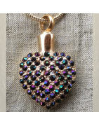 Collier pendentif mémorial, fiole Cristal de Swarovski